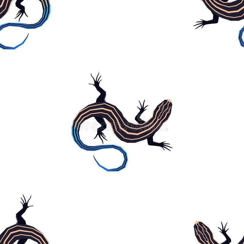 Διανυσματική απεικόνιση άγριων ζώων του πέντε ευθυγραμμισμένου skink άνευ ραφής γεωμετρικού ύφους σχεδίων ελεύθερη απεικόνιση δικαιώματος