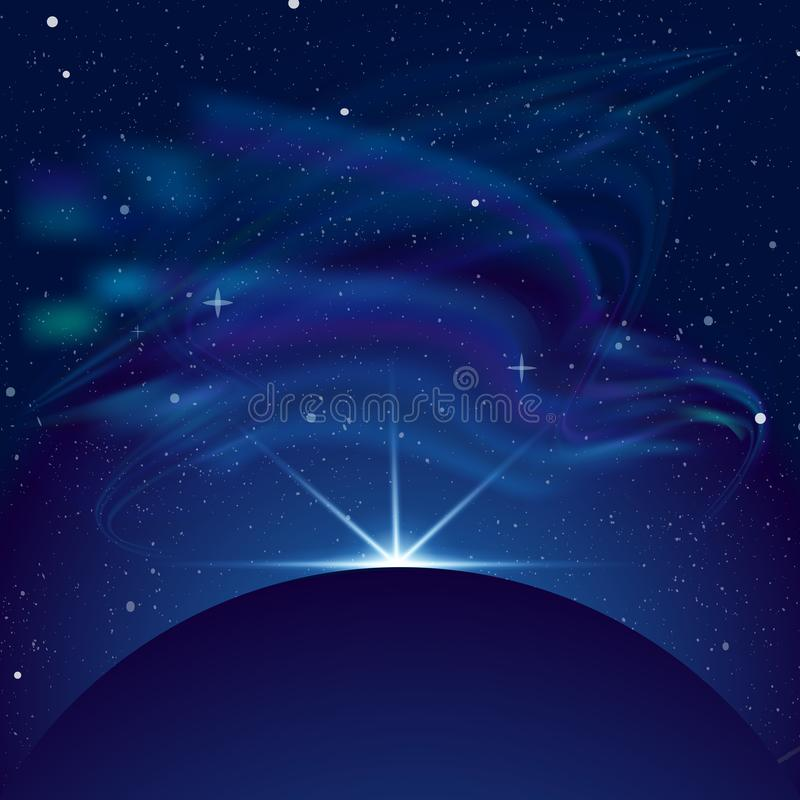 Διανυσματική απεικόνιση έκλειψης, πλανήτης στο διάστημα στις μπλε ακτίνες του ελαφριού διανυσματικού υποβάθρου Διάστημα με το μέρ απεικόνιση αποθεμάτων