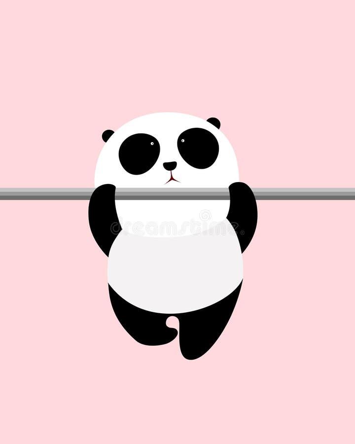 Διανυσματική απεικόνιση: Ένα χαριτωμένο γιγαντιαίο panda κινούμενων σχεδίων κάνει σηκώνει σε έναν οριζόντιο φραγμό διανυσματική απεικόνιση