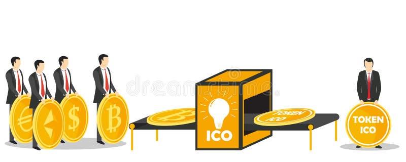 Διανυσματική απεικόνιση έννοιας ανταλλαγής ICO συμβολική απεικόνιση αποθεμάτων