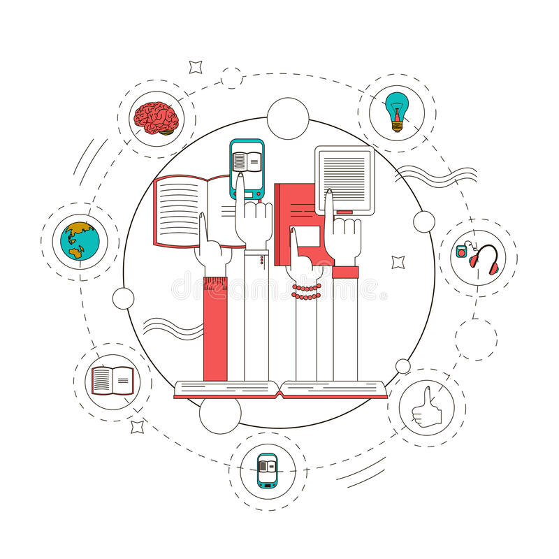 Διανυσματική απεικόνιση έννοιας βιβλίων εκπαίδευσης και ανάγνωσης στο γραμμικό ύφος Στοιχεία σχεδίου, εικονίδια γραμμών ελεύθερη απεικόνιση δικαιώματος