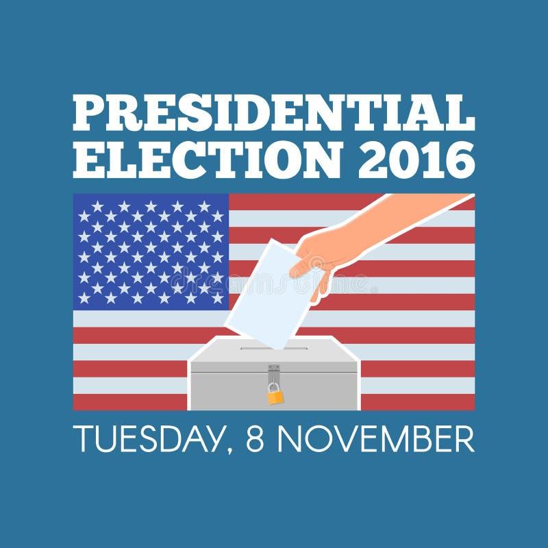 Διανυσματική απεικόνιση έννοιας ημέρας ΑΜΕΡΙΚΑΝΙΚΩΝ προεδρικών εκλογών Χέρι που βάζει το έγγραφο ψηφοφορίας στο κάλπη με Αμερικαν ελεύθερη απεικόνιση δικαιώματος