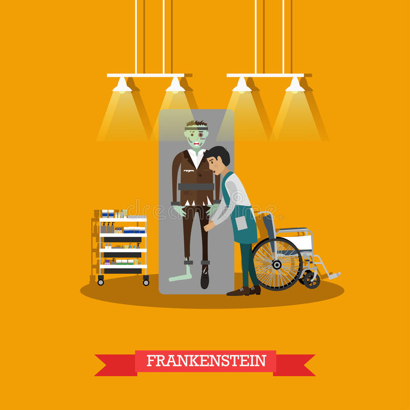 Διανυσματική απεικόνιση έννοιας κινηματογράφων Frankenstein στο επίπεδο ύφος ελεύθερη απεικόνιση δικαιώματος