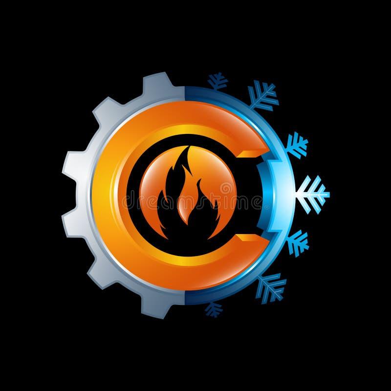 Διανυσματική απεικόνιση έννοιας λογότυπων Illus σημαδιών φλογών εργαλείων και πυρκαγιάς διανυσματική απεικόνιση