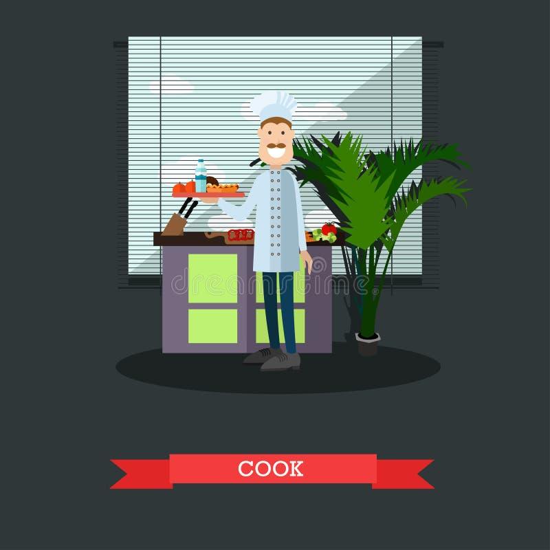 Διανυσματική απεικόνιση έννοιας μαγείρων στο επίπεδο ύφος απεικόνιση αποθεμάτων