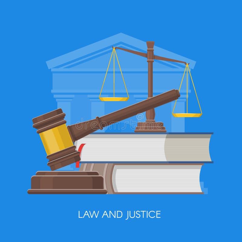 Διανυσματική απεικόνιση έννοιας νόμου και δικαιοσύνης στο επίπεδο ύφος Στοιχεία σχεδίου, σύμβολα, εικονίδια ελεύθερη απεικόνιση δικαιώματος