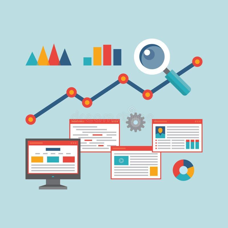 Διανυσματική απεικόνιση έννοιας στο επίπεδο ύφος σχεδίου των πληροφοριών Analytics Ιστού διανυσματική απεικόνιση