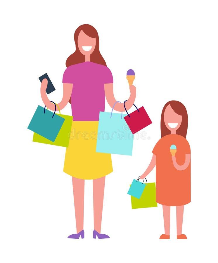 Διανυσματική απεικόνιση αγορών μητέρων και κορών απεικόνιση αποθεμάτων