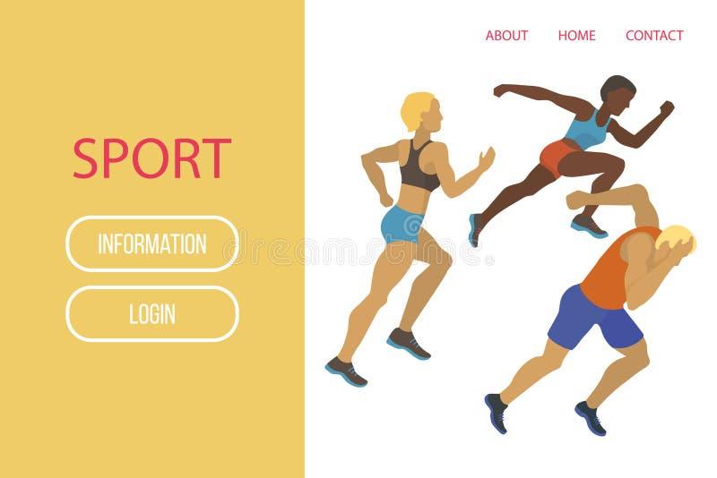 Διανυσματική απεικόνιση αθλητικών εμβλημάτων αθλητών Η άσκηση του αρσενικού και του θηλυκού σε διαφορετικό θέτει Οι ανθρώπινοι αρ απεικόνιση αποθεμάτων