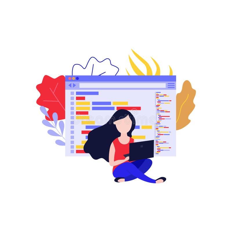 Διανυσματική απεικόνιση ανάπτυξης εφαρμογών με τη νέα συνεδρίαση γυναικών με το lap-top και τον προγραμματισμό app διανυσματική απεικόνιση