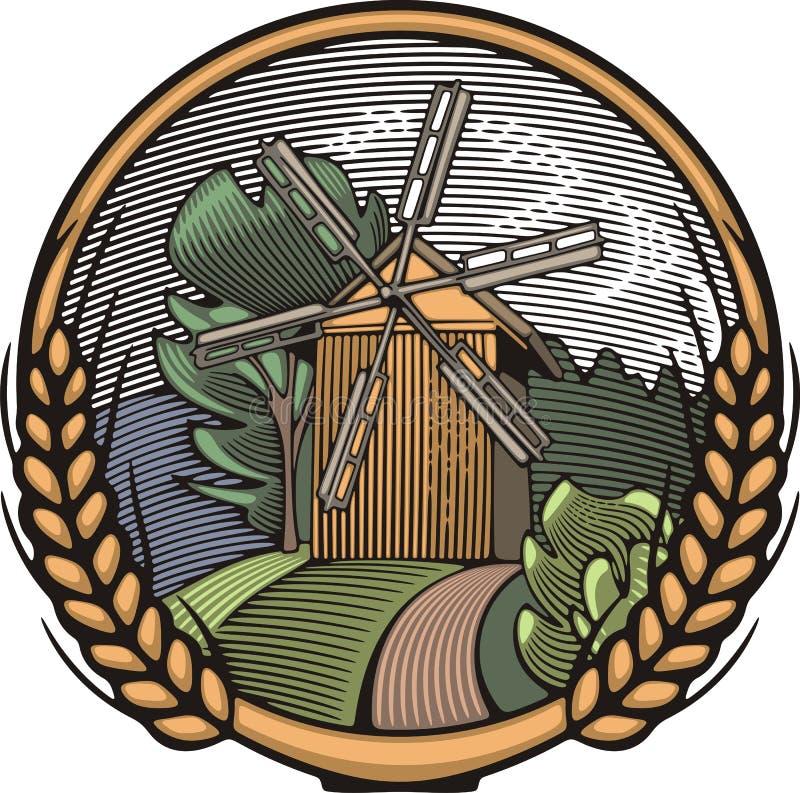Διανυσματική απεικόνιση ανεμόμυλων στο ύφος ξυλογραφιών καλλιέργεια οργανική απεικόνιση αποθεμάτων