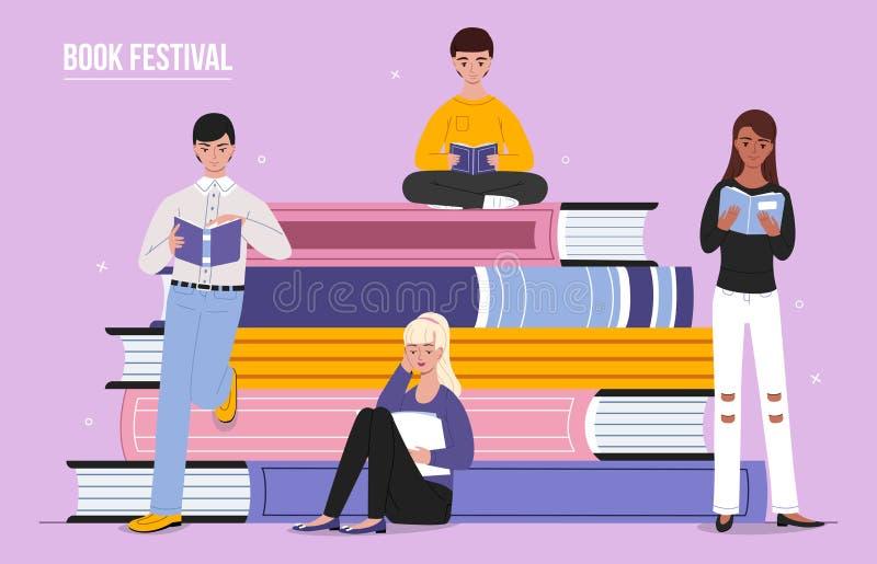Διανυσματική απεικόνιση ανθρώπων ανάγνωσης φεστιβάλ βιβλίων διανυσματική απεικόνιση
