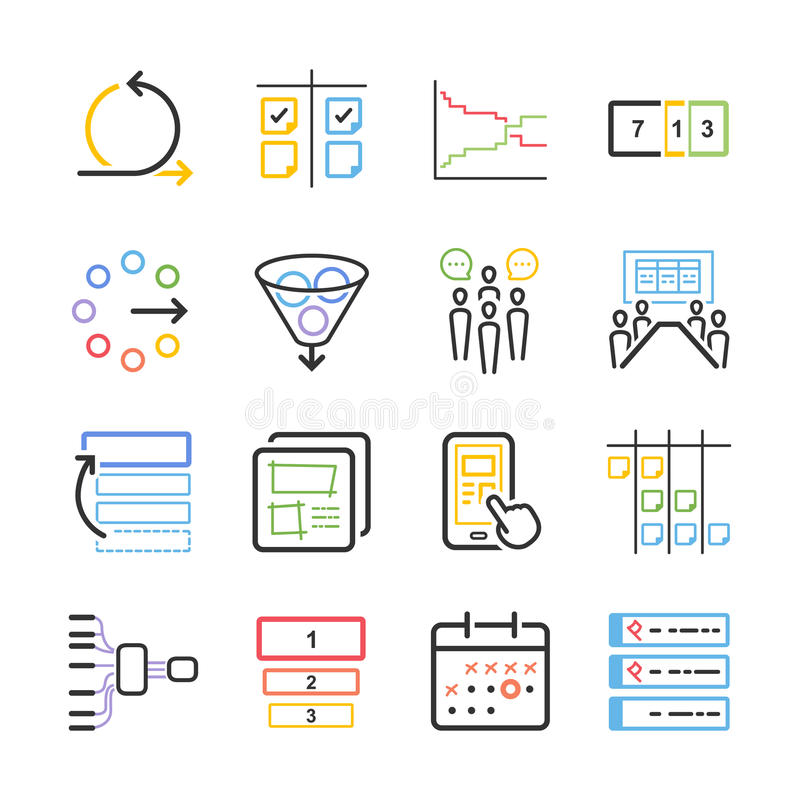 Διανυσματική απεικόνιση αποθεμάτων: Ευκίνητο σύνολο εικονιδίων ελεύθερη απεικόνιση δικαιώματος