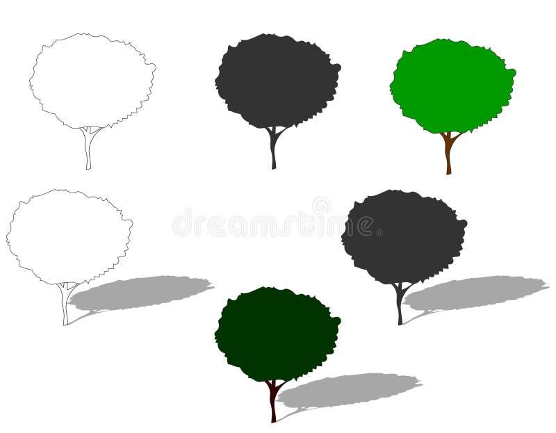Διανυσματική απεικόνιση αποθεμάτων των δέντρων με τη σκιά ελεύθερη απεικόνιση δικαιώματος