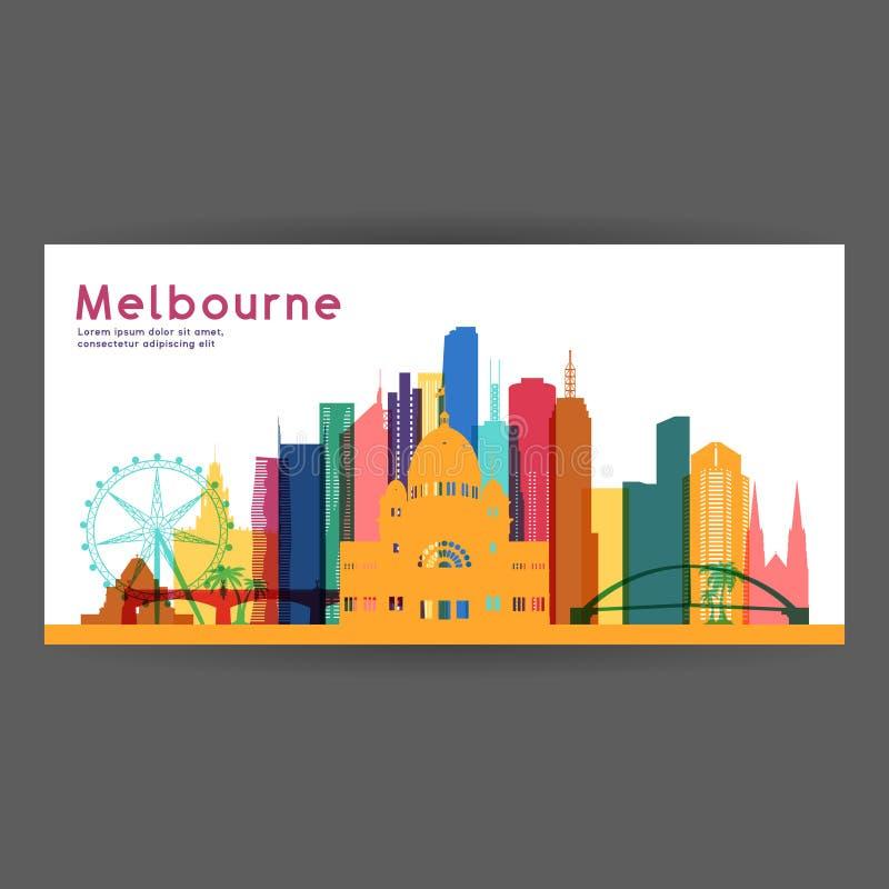 Διανυσματική απεικόνιση αρχιτεκτονικής της Μελβούρνης ζωηρόχρωμη απεικόνιση αποθεμάτων