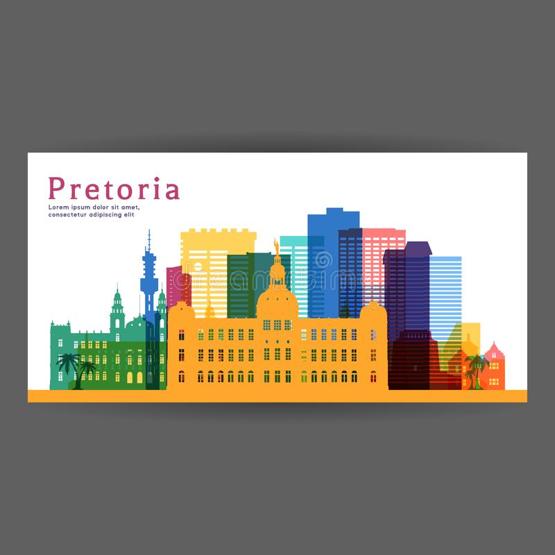 Διανυσματική απεικόνιση αρχιτεκτονικής της Πρετόρια ζωηρόχρωμη απεικόνιση αποθεμάτων
