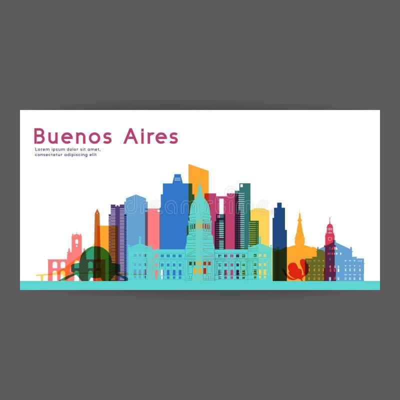 Διανυσματική απεικόνιση αρχιτεκτονικής του Μπουένος Άιρες ζωηρόχρωμη απεικόνιση αποθεμάτων