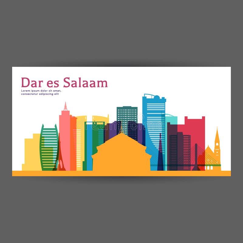 Διανυσματική απεικόνιση αρχιτεκτονικής του Νταρ Ες Σαλάμ ζωηρόχρωμη διανυσματική απεικόνιση