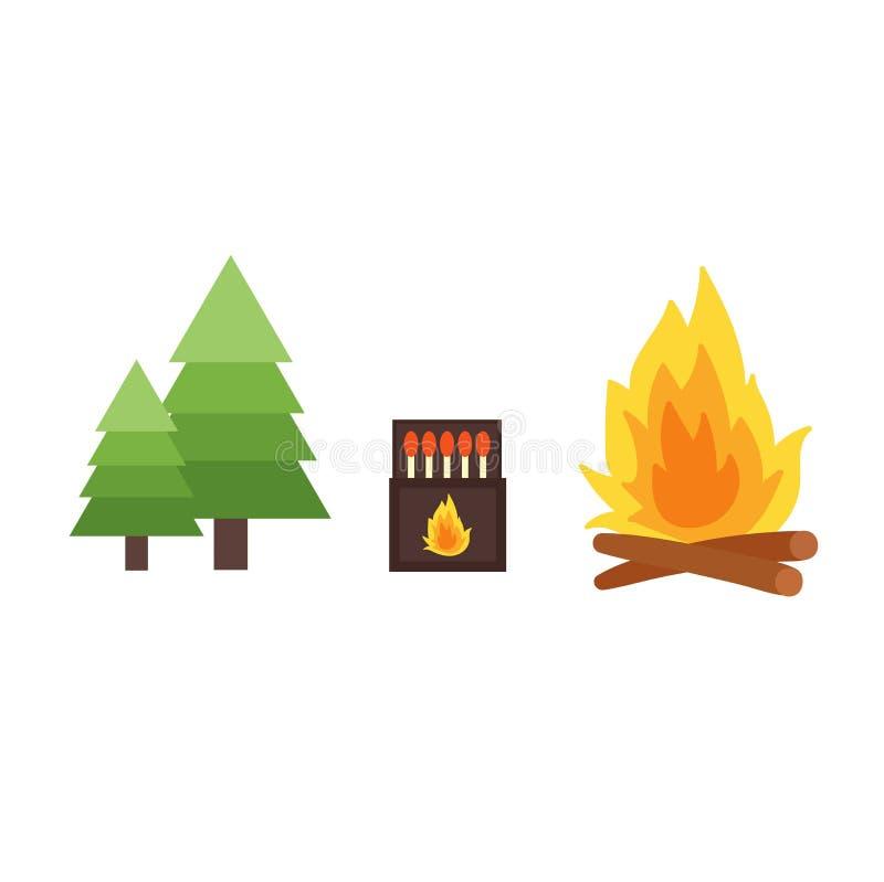 Διανυσματική απεικόνιση δασικής πυρκαγιάς διανυσματική απεικόνιση