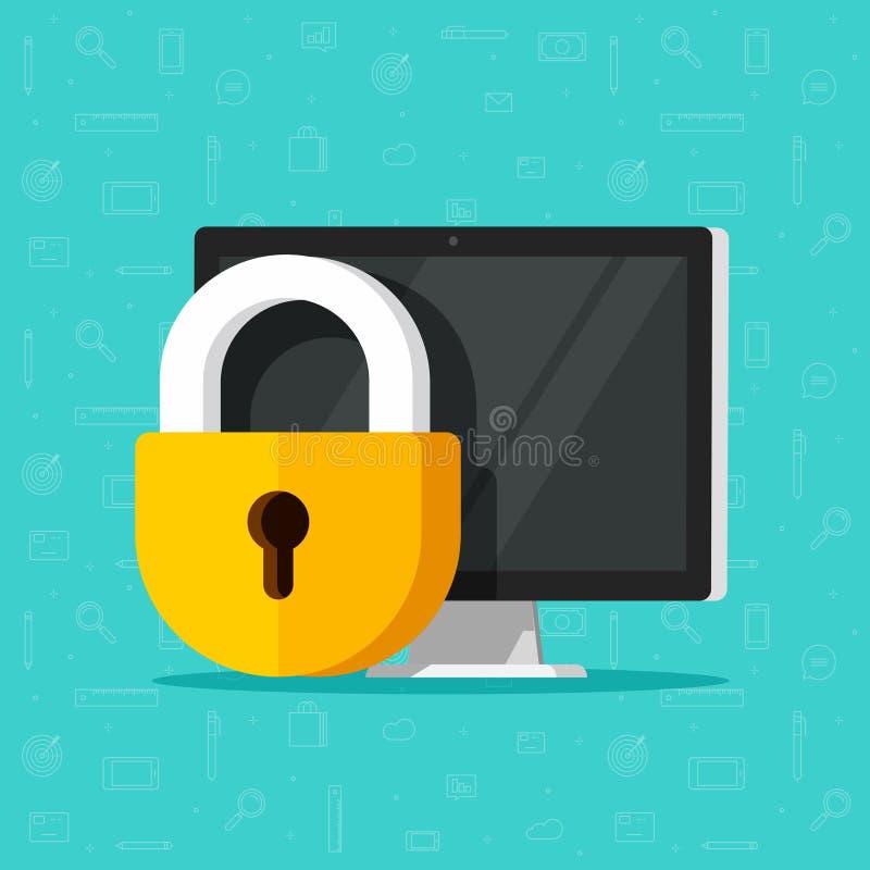 Διανυσματική απεικόνιση ασφάλειας υπολογιστών που απομονώνονται, επίπεδος προσωπικός υπολογιστής γραφείου σχεδίου κινούμενων σχεδ ελεύθερη απεικόνιση δικαιώματος