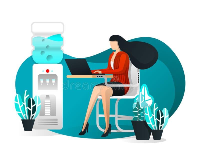Διανυσματική απεικόνιση για ιστοσελίδας, στοιχείο, έμβλημα, παρουσίαση, αφίσα, UI Προκλητική γραμματέας ή επιχειρησιακή γυναίκα π διανυσματική απεικόνιση