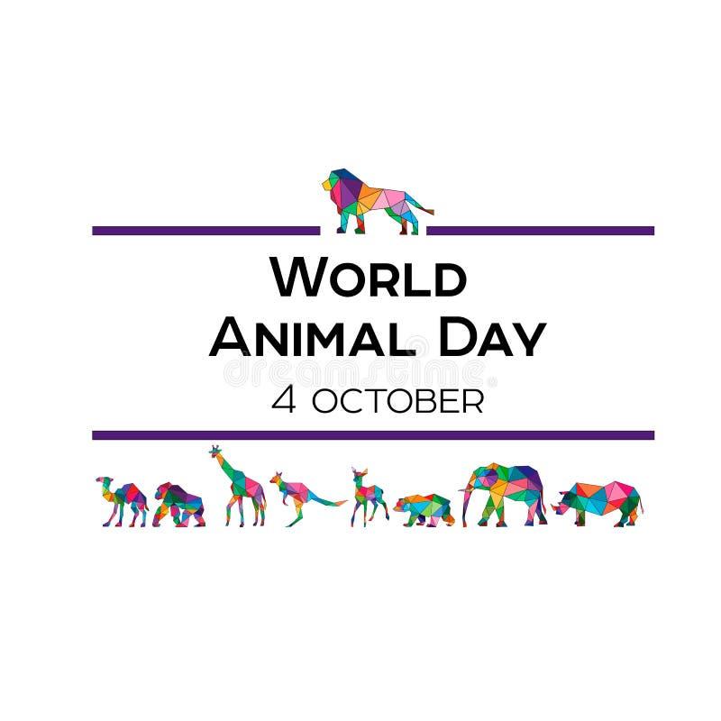 Διανυσματική απεικόνιση για την παγκόσμια ζωική ημέρα στις 4 Οκτωβρίου Polygonal ζώα Ένας ελέφαντας, ένας ρινόκερος, μια καμήλα,  ελεύθερη απεικόνιση δικαιώματος