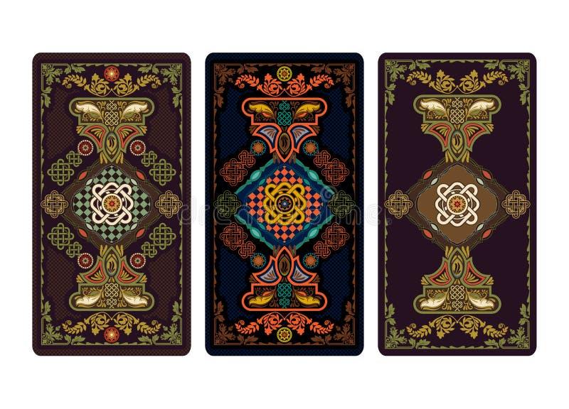 Διανυσματική απεικόνιση για τις κάρτες Tarot και παιχνιδιού Πρότυπο για τις προσκλήσεις, αφίσες κάρτες tarot απεικόνιση αποθεμάτων