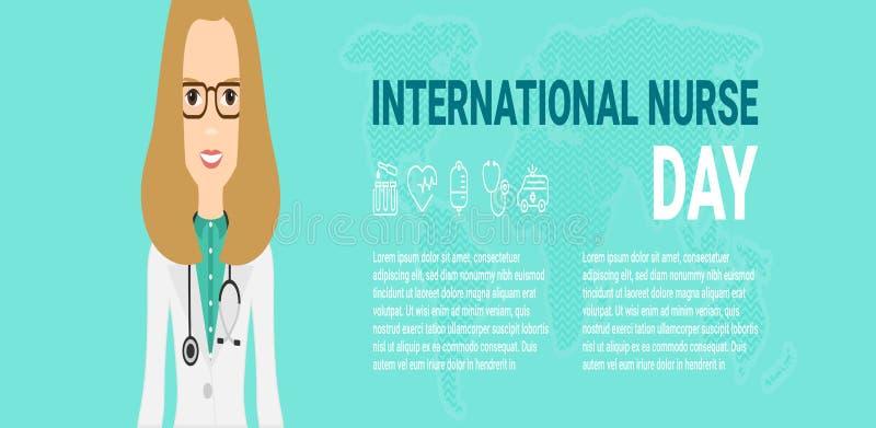 Διανυσματική απεικόνιση για το διεθνή εορτασμό ημέρας νοσοκόμων Μπορέστε να χρησιμοποιηθείτε για την αφίσα, έμβλημα, υπόβαθρο, ει απεικόνιση αποθεμάτων