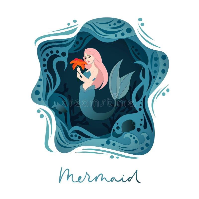 Διανυσματική απεικόνιση γοργόνων με τον κόσμο μεγάλων θαλασσίων βαθών και κορίτσι γοργόνων στο ύφος εγγράφου Φαντασία κάτω από τη απεικόνιση αποθεμάτων