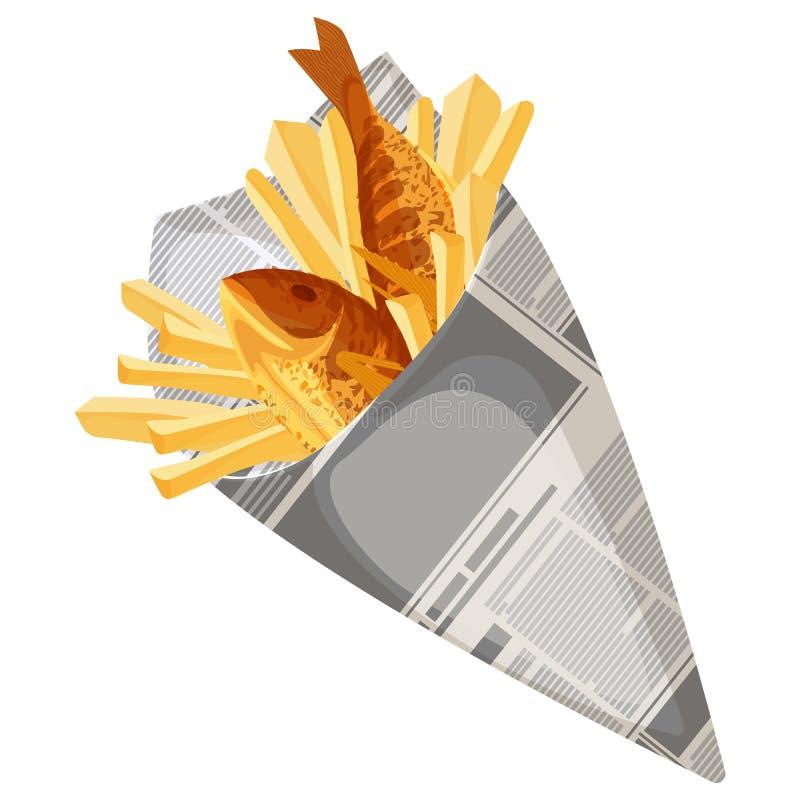 Διανυσματική απεικόνιση γρήγορου φαγητού ψαριών και τσιπ παραδοσιακή απεικόνιση αποθεμάτων