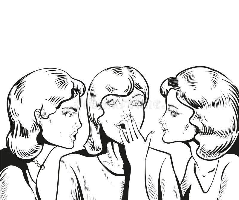 Διανυσματική απεικόνιση γραμμών Κουτσομπολιό ή μυστικό ψιθυρίσματος γυναικών στο φίλο της διανυσματική απεικόνιση