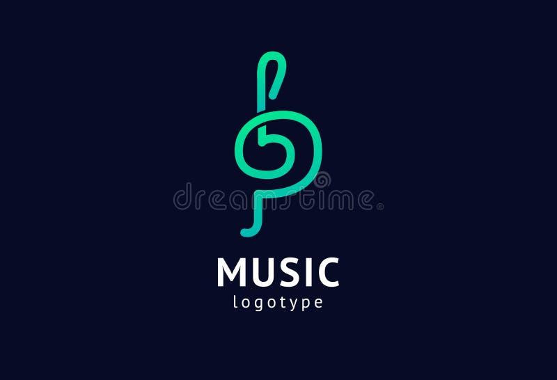 Διανυσματική απεικόνιση, γραφικό τριπλό clef σχεδίου logotype Αφηρημένο διανυσματικό σχέδιο εικονιδίων μουσικής Στούντιο υγιούς κ ελεύθερη απεικόνιση δικαιώματος