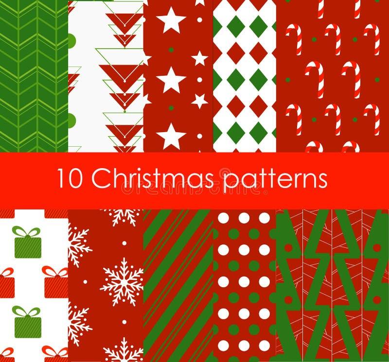 Διανυσματική απεικόνιση δέκα διαφορετικά άνευ ραφής σχέδια Χριστουγέννων Φωτεινή σύσταση χρωμάτων για την ταπετσαρία, υπόβαθρο ισ ελεύθερη απεικόνιση δικαιώματος
