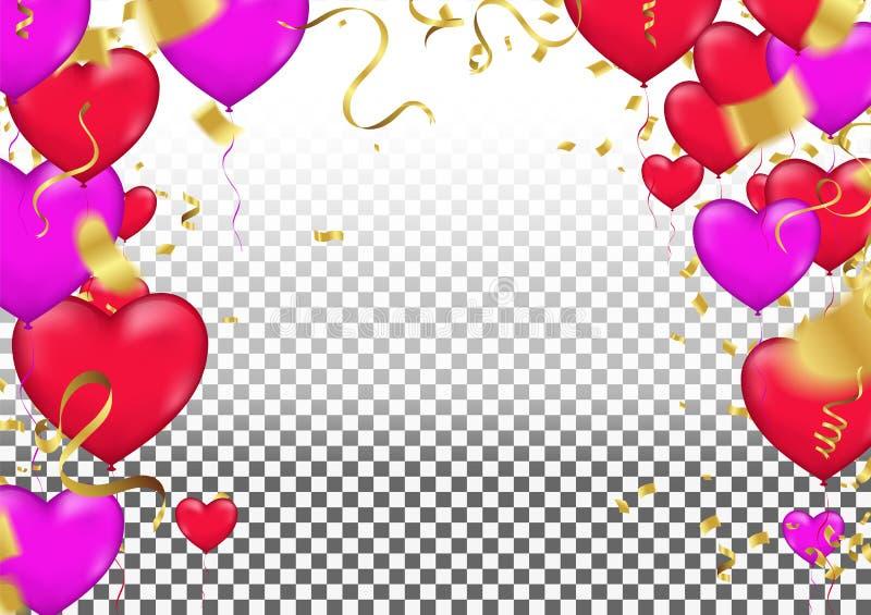 Διανυσματική απεικόνιση διακοπών της πετώντας δέσμης της κόκκινης καρδιάς μπαλονιών ελεύθερη απεικόνιση δικαιώματος