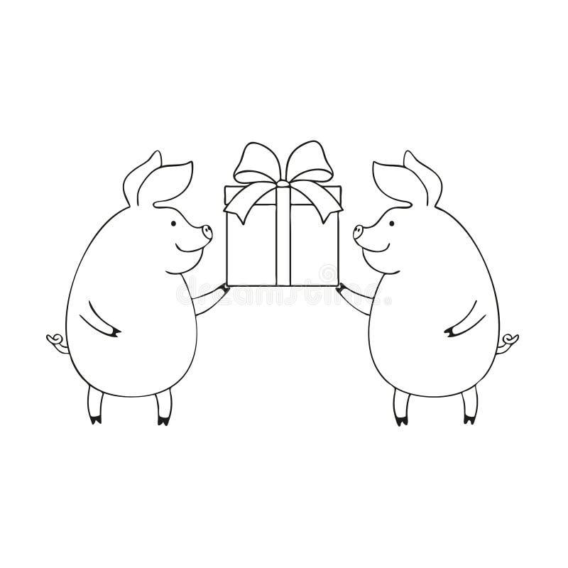 Διανυσματική απεικόνιση δύο χαριτωμένοι χοίροι που κρατούν ένα κιβώτιο με ένα δώρο, σχέδιο κινούμενων σχεδίων διανυσματική απεικόνιση