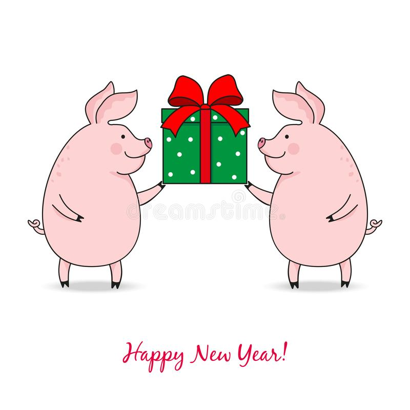 Διανυσματική απεικόνιση δύο χαριτωμένοι χοίροι που κρατούν ένα κιβώτιο με ένα δώρο, σχέδιο κινούμενων σχεδίων απεικόνιση αποθεμάτων