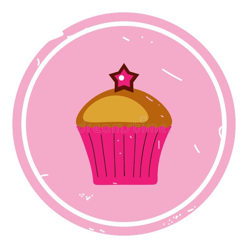 Διανυσματική απεικόνιση εικονιδίων Cupcake στο ρόδινο υπόβαθρο απεικόνιση αποθεμάτων