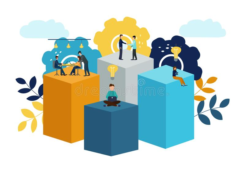 Διανυσματική απεικόνιση, εικονικός επιχειρησιακός βοηθός ομαδική εργασία, 'brainstorming', νέες ιδέες, στόχοι επίτευξης, νέες νίκ απεικόνιση αποθεμάτων