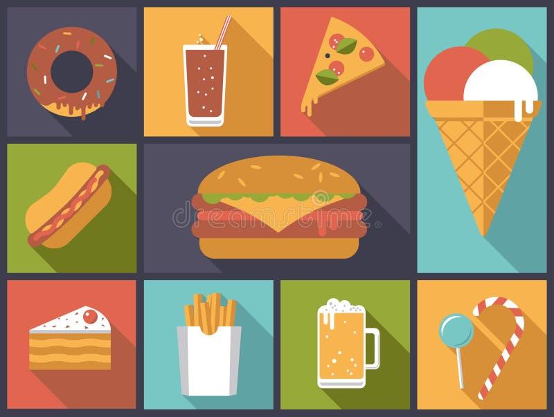 Διανυσματική απεικόνιση εικονιδίων γρήγορου φαγητού διανυσματική απεικόνιση