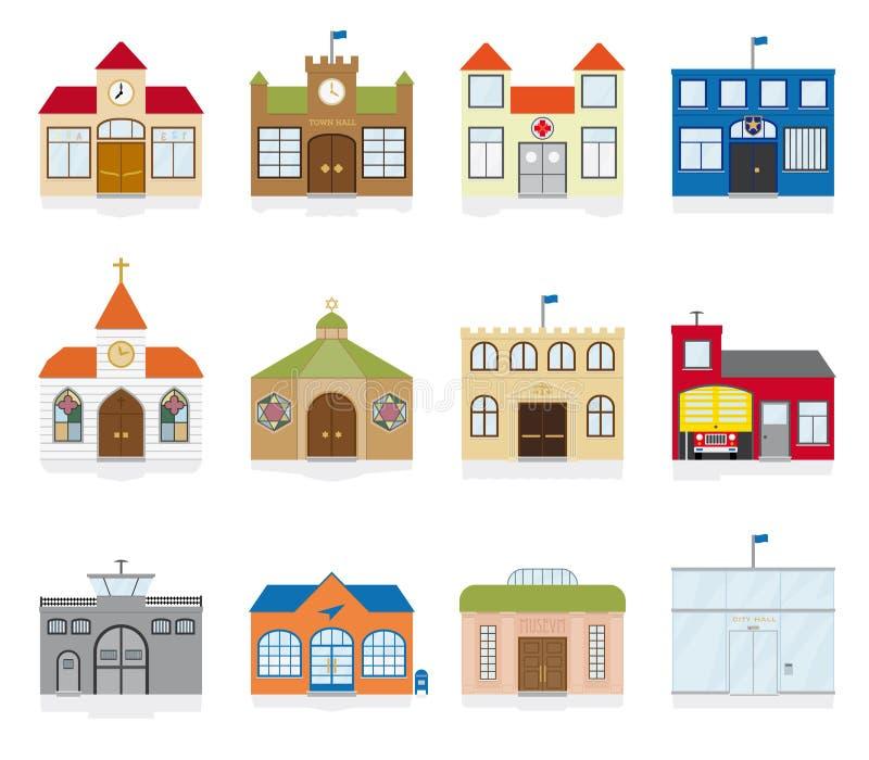 Διανυσματική απεικόνιση εικονιδίων δημόσιου κτιρίου ελεύθερη απεικόνιση δικαιώματος