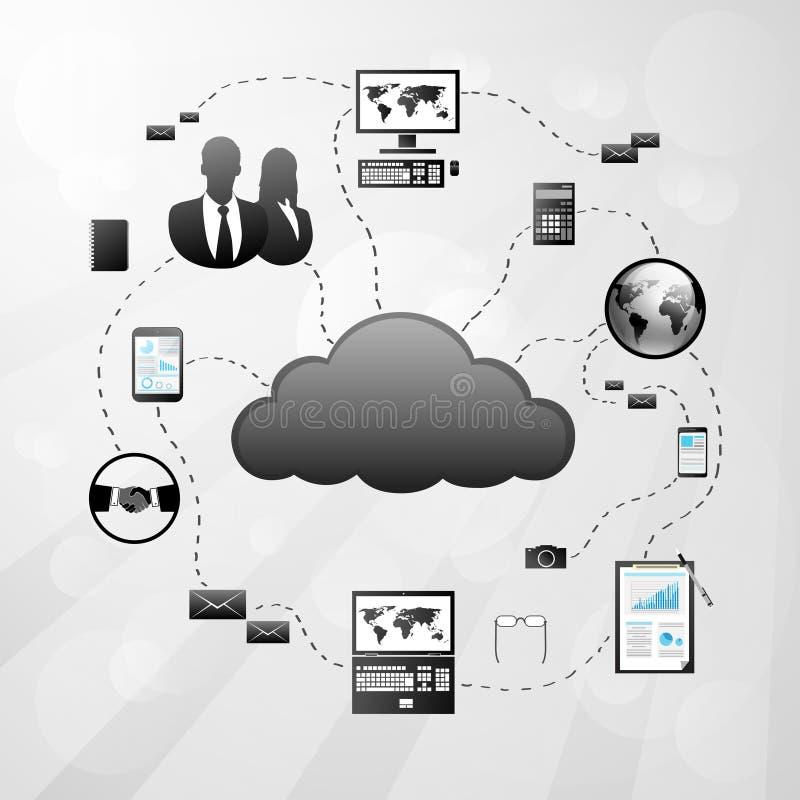 Διανυσματική απεικόνιση εικονιδίων σύνδεσης στο Διαδίκτυο σύννεφων διανυσματική απεικόνιση