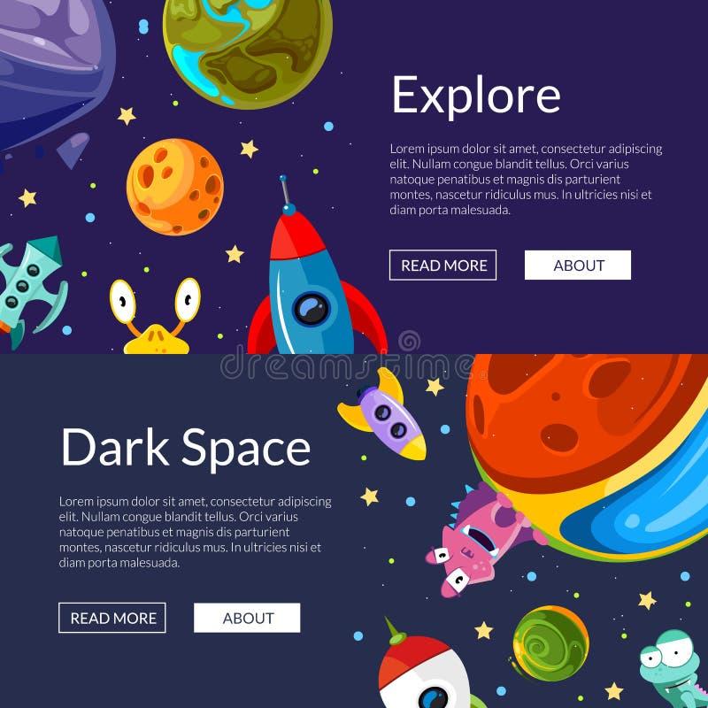 Διανυσματική απεικόνιση εμβλημάτων Ιστού με τους διαστημικούς πλανήτες και τα σκάφη κινούμενων σχεδίων απεικόνιση αποθεμάτων