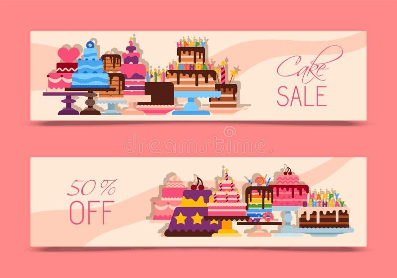 Διανυσματική απεικόνιση εμβλημάτων πώλησης κέικ Σοκολάτα και fruity επιδόρπια για το γλυκό κατάστημα με τα φρέσκα και νόστιμα cup απεικόνιση αποθεμάτων