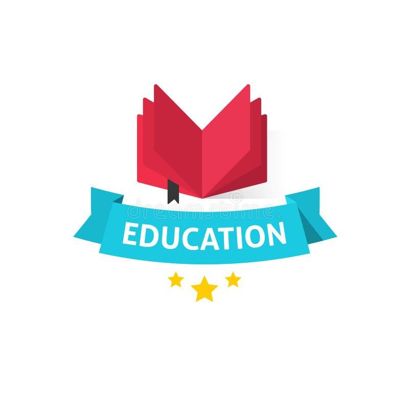 Διανυσματική απεικόνιση εμβλημάτων εκπαίδευσης, ανοικτό βιβλίο με το κείμενο εκπαίδευσης στην μπλε κορδέλλα διανυσματική απεικόνιση