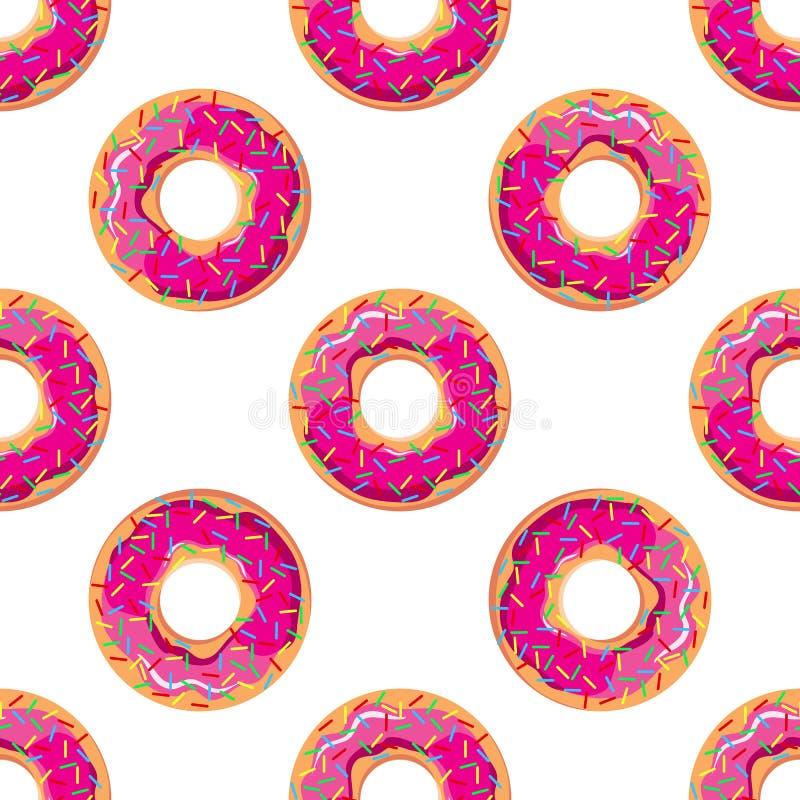 Διανυσματική απεικόνιση ενός άνευ ραφής σχεδίου φωτεινό ρόδινο doughnut απεικόνιση αποθεμάτων