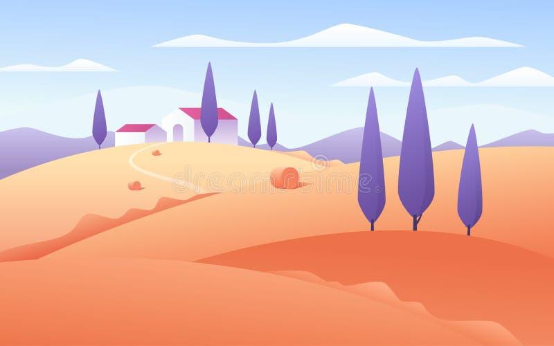 Διανυσματική απεικόνιση ενός αγροτικού τοπίου ύφους φθινοπώρου επίπεδου απεικόνιση αποθεμάτων