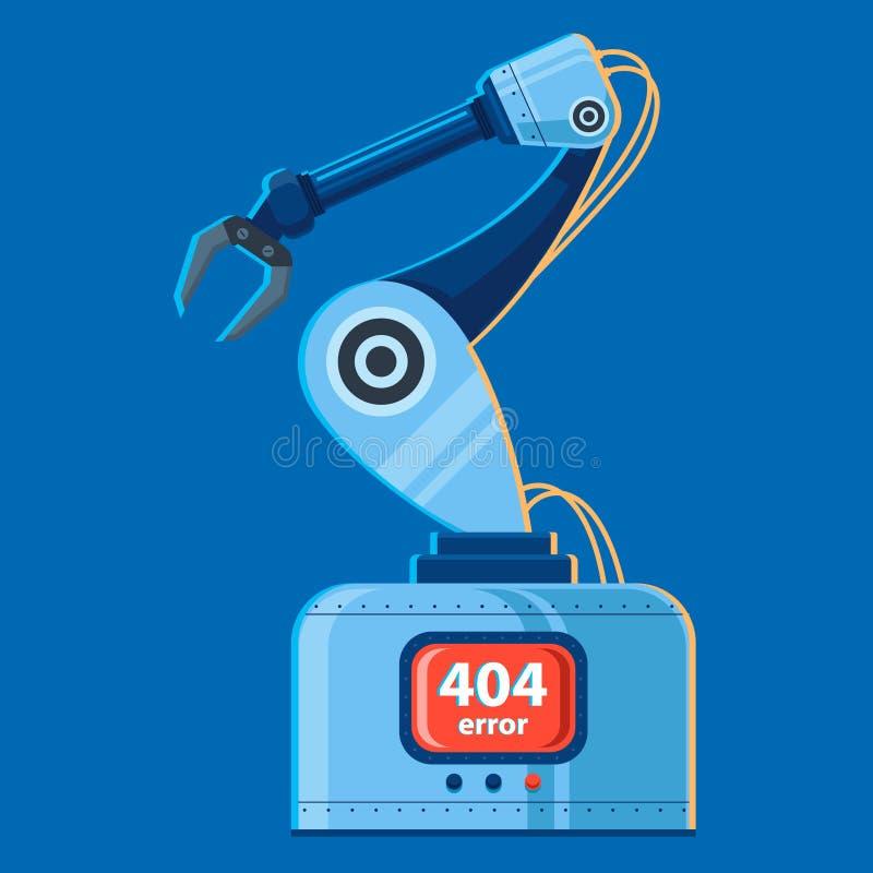 Διανυσματική απεικόνιση ενός βραχίονα ρομπότ που έχει σπάσει λάθος 404 διανυσματική απεικόνιση