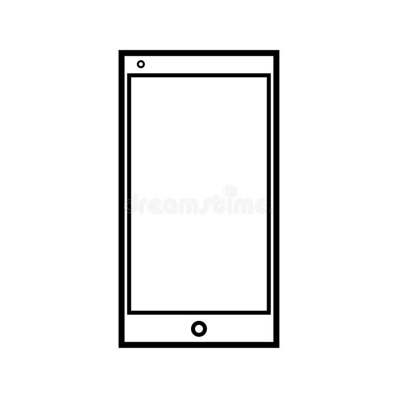 Διανυσματική απεικόνιση ενός γραπτού σύγχρονου ψηφιακού εικονιδίου ενός έξυπνου ψηφιακού ορθογώνιου κινητού τηλεφώνου smartphone  διανυσματική απεικόνιση