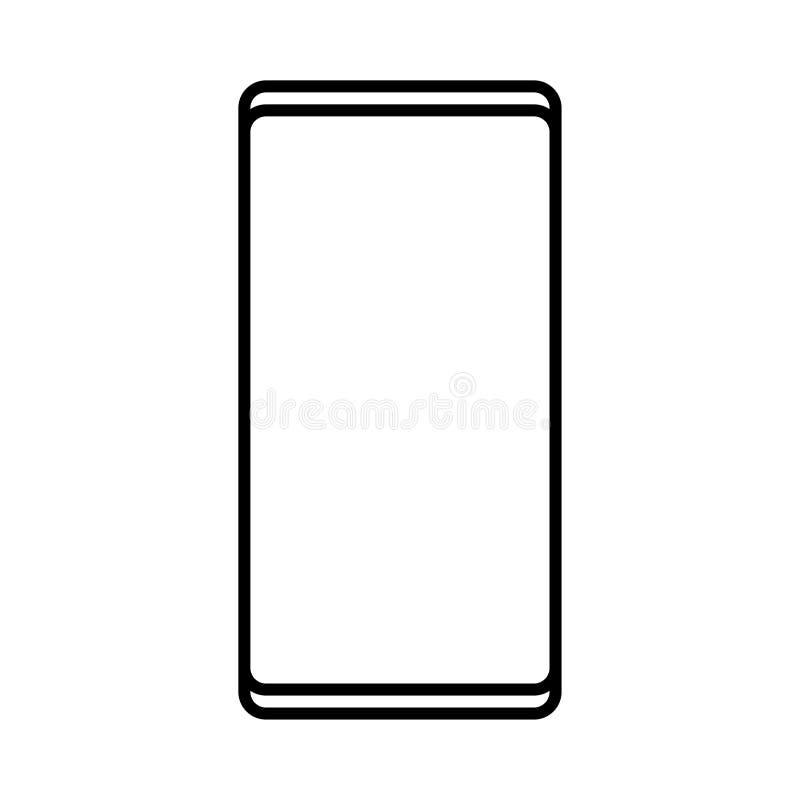 Διανυσματική απεικόνιση ενός γραπτού σύγχρονου ψηφιακού εικονιδίου ενός έξυπνου ψηφιακού ορθογώνιου κινητού τηλεφώνου smartphone  απεικόνιση αποθεμάτων