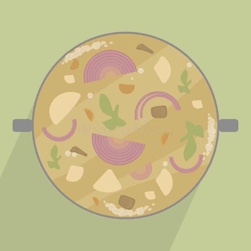 Διανυσματική απεικόνιση ενός δοχείου με τη φυτική σούπα με τα κρεμμύδια, τις πατάτες, το κρέας και τα πράσινα με μια σκιά σε έναν διανυσματική απεικόνιση